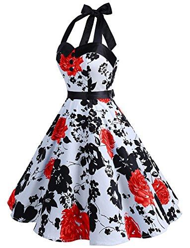 Dressystar DS1957 Vintage Tupfen Retro Cocktail Abschlussball Kleider 50er 60er Rockabilly Neckholder Rot Blume XS - 2