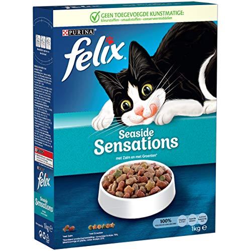 Felix Vis Sensations Kattenvoer, Kattenbrokken met Zalm & Groenten, 1kg - Doos van 5 (5kg)