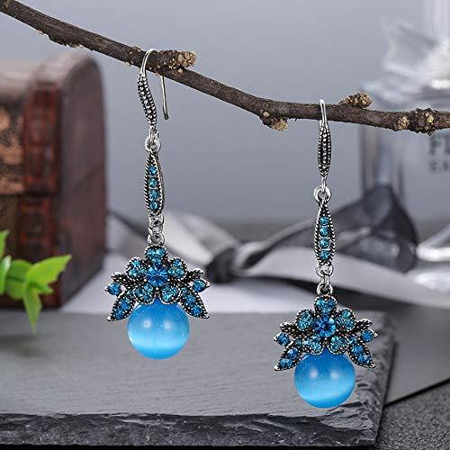 HOULAI Nuevo lujo Boutique Rhinestone azul ópalo pendientes colgantes para las mujeres novia boda joyería moda ojo de gato piedra declaración pendiente