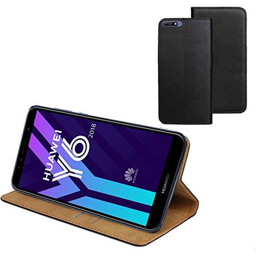 MOELECTRONIX ECHT Leder Buch Klapp Tasche Schutz Hülle Flip Case Etui passend für Huawei Y6 2018 Dual SIM ATU-L21