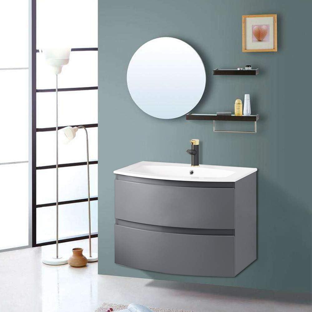 Aquariss Gloss Grey Bathroom Curved Vanity Basin Unit Wall Hung Drawer Storage Cabinet Furniture 700mm
