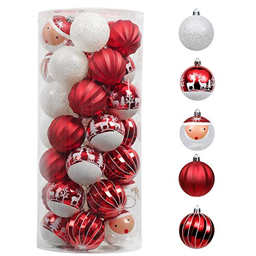 Valery Madelyn Christmas Ball Ornaments Red and White, 35ct 70mm Traditional Shatterproof Christmas Tree Ornaments Bulk Xmas Decoration, Themed with Tree Skirt (Not Included)