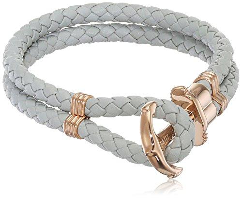 PAUL HEWITT Anker Armband Damen PHREP - Segeltau Armband Frauen, Leder Armband Damen (Grau) mit Anker Schmuck aus IP-Edelstahl (Rosegold)