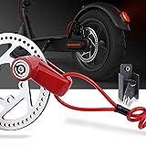 TOMALL Freno a disco rosso Blocco antifurto Filo di acciaio per M365 Ruote per bicicletta moto Armadietto con promemoria Corda