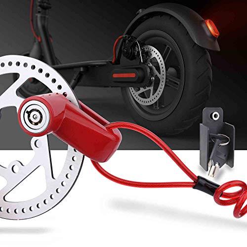 TOMALL Freno de Disco Rojo Bloqueo antirrobo Cable de Acero Bloqueo para Xiaomi Mijia M365 Motocicleta Bicicleta Ruedas Armario con recordatorio
