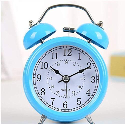 Creative Bedside Klok Blue Loud Leuke wekker en Night Light Silent Quartz roestvrij staal, metaal Leuke wekker Lazy slaapkamer en Studie Bedside Cute Alarm Clock