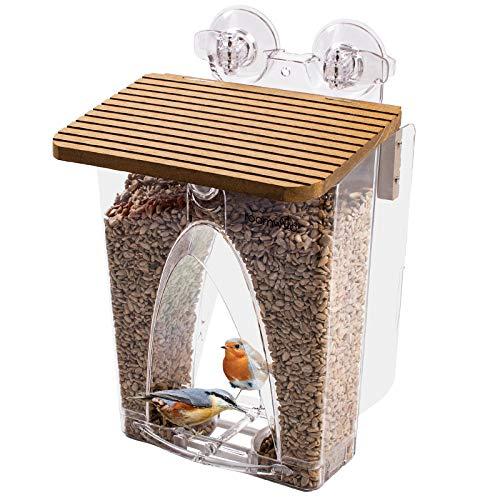 Roamwild Schön Fenstervogelhäuschen Futterautomat mit riesigem Fassungsvermögen von 2 Liter und extrem starker Doppelsaugtechnologie für den Außenbereich mit Drainagelöchern und Fensterschutz