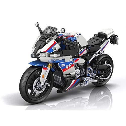 KEAYO Technik Motorrad Modell für BMW S1000RR, Technik Supermotorrad Schaustück für Sammler, MOC Klemmbausteine Bauset Kompatibel mit Lego Motorrad