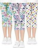Adorel Leggings 3/4 Pantalón Stretch Impreso Niña Lote de 3 Mariposa & Estrella & Lunares (Dibujo en Blanco) 5-6 Años (Tamaño del Fabricante 120)