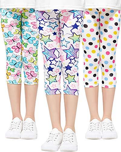 Adorel Mädchen Leggings 3/4 Capri-Hosen 3er-Pack Stern & Tupfen & Schmetterling (Erfrischend) 110 EU (Herstellergröße 120)