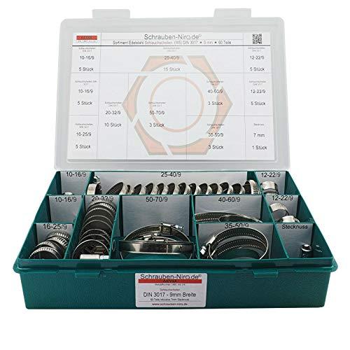 Sortiment A4 Edelstahl Schlauchschellen, Bandbreite 9 mm, Spannbereiche von 10 bis 70 mm, Set mit 60 Teilen inklusive 7 mm Steckschlüsseleinsatz, Material W5 (entspricht V4A)