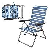 AKTIVE 62603 Sedia Pieghevole Spiaggia 5 Posizioni alluunio Beach 68 x 61 x 92 cm, Alluminio + textilene, Blu