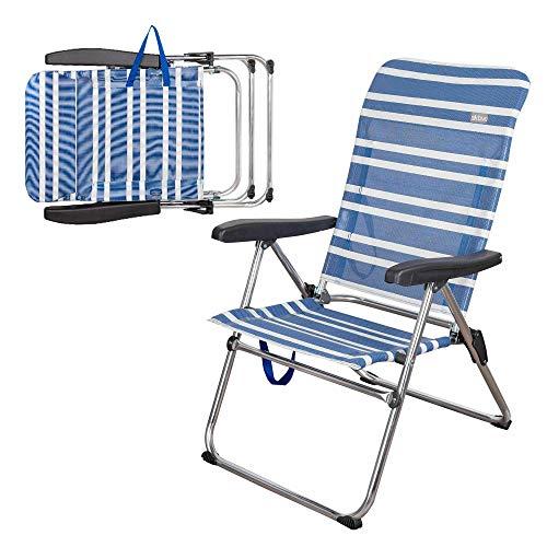 AKTIVE 62603 Klappstuhl für den Strand, 5 Positionen, Aluminium, Beach, 68 x 61 x 92 cm, Aluminiumrohr + Textilene, blau
