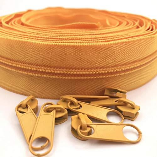 GoGOO 5# 10 Metros 24 Colores Nylon Bobina Cremalleras por el Patio con Controles deslizantes 10 unids para Bolsas de Manualidades de Costura de Bricolaje