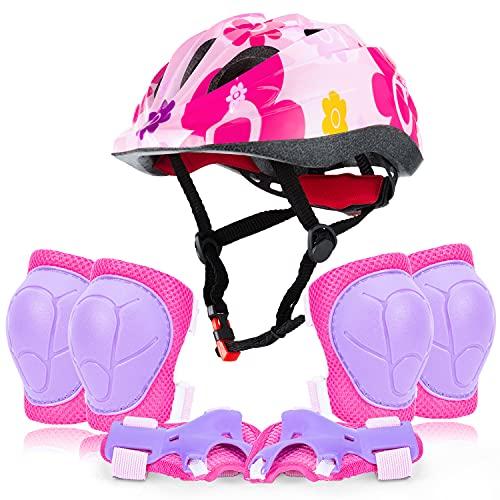 Ginocchiere per Bambini Equipaggiamento Protettivo per Casco da Bici per Bambini di età 3-8, gomitiere Regolabili per Ragazze per Ragazzi e Protezioni da Polso per Pattini a rotelle