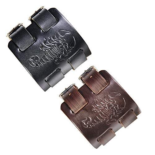Bracelet Cuir Armband Skorpion – Armband aus Leder mit Skorpion – Größe verstellbar und angenehm zu tragen. - Marron et Noir
