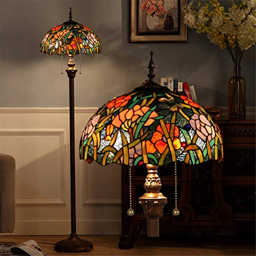 Good thing 16-zoll Tiffany Stehleuchte Bunte Glasmalerei Stehlampe Schlafzimmer Stehleuchte Exquisite Vintage Chic Blume Lampe