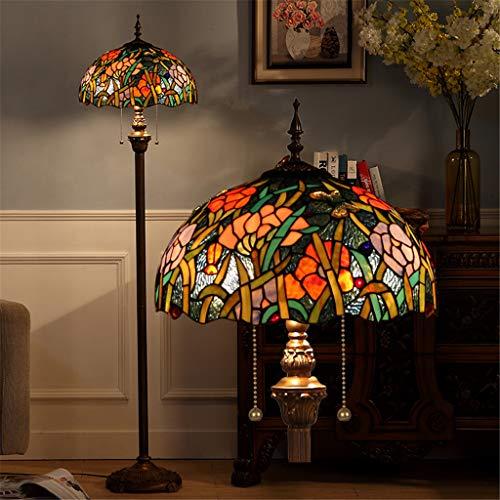 Lámpara de pie Tiffany de 16 pulgadas Pantalla de vidrio tintado Estampado de flores colorido...