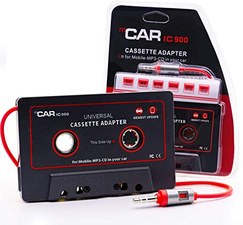Car Cassette Aux Adapter Audio Stereo Receiver, 3.5mm Universal Audio Cable Tape Adapter for Classic Cars, Compatible with Phone, MP3 ect. Classic Dark Red and Black