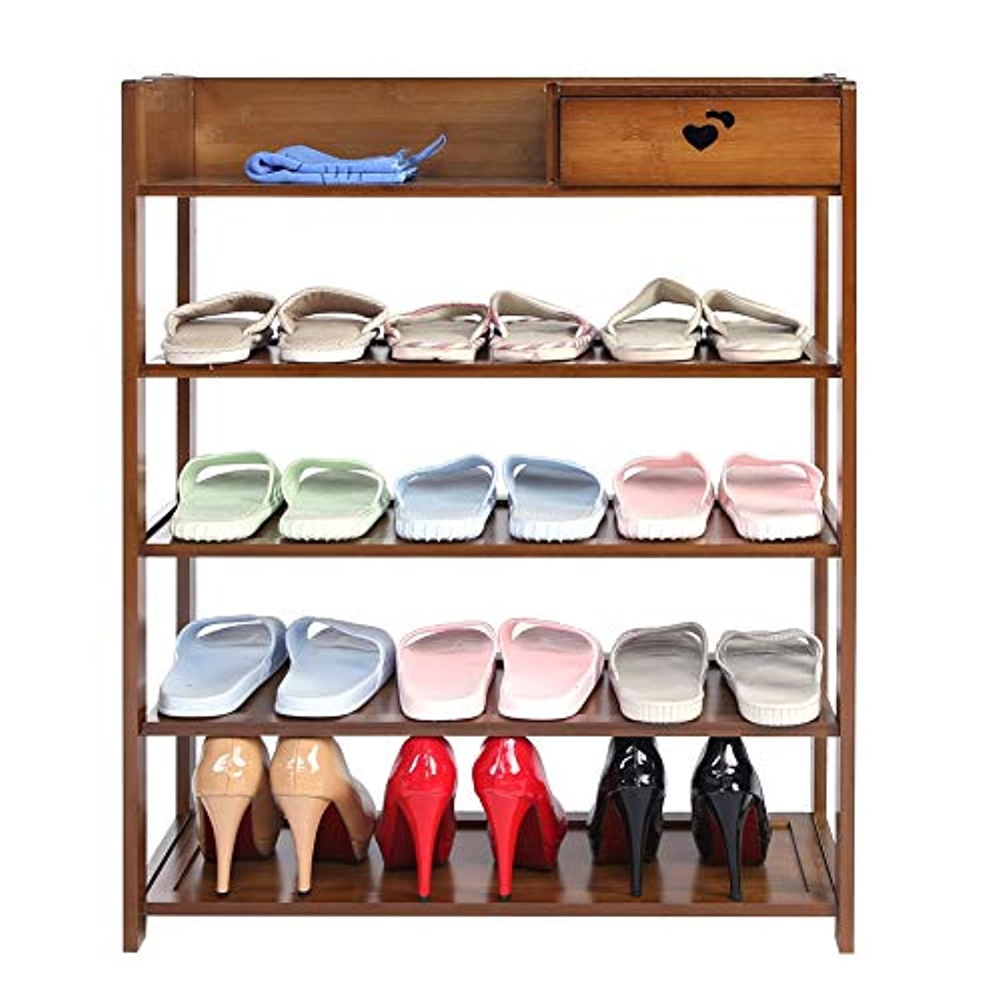 Asixx Shoe Rack, Natural Bamboo Shoe Shelf Multi-Layer Shoe Organizer with Drawer for Storing Shoes and Other Stuff(5 Tiers)