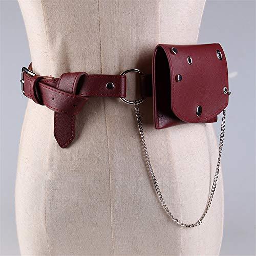 Riñonera Fashion Bouch Bag Pequeño bolso de la correa de la cintura de las mujeres Bolso con cadena PU de cuero Paquete de Fanny Cinturón extraíble ajustable con la bolsa de la cintura Mini monedero M