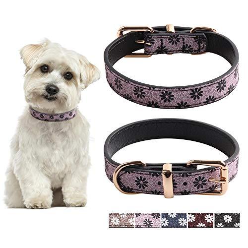 Eastlion Hundehalsband Leder&Katzenhalsband Glitzer,Einstellbar Weichem Haustierhalsband für Kleine Mittlere Hunde Welpen Kätzchen(Rosa,S:23-29 cm)