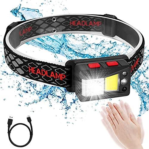 I-WILL Lampada Frontale LED USB Ricaricabile Super Luminoso Impermeabile 8 Modalità Sensore Movimento Bambini e Adulti Torcia da Testa per Running Campeggio Corsa Pesca Ciclismo Pesca Trekking