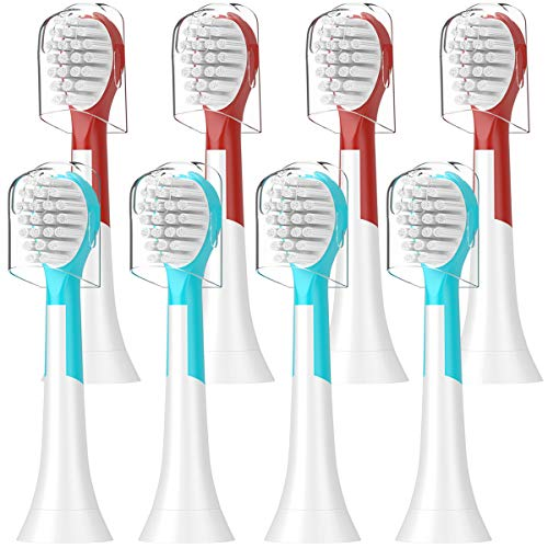 ITECHNIK Kids Replacement Brush Heads for Philips Sonicare HX6034 Compatible With Electric Toothbrush Kids Standard, Blue 4 pcs, Red 4 pcs, 8 Count, Fit Age 4+