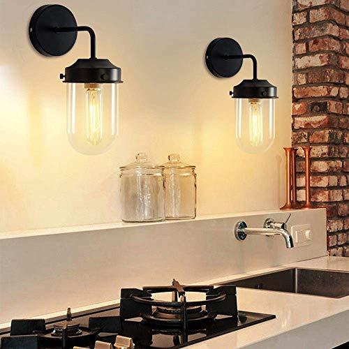 Wandlantaarn kristal wandlamp spiegel industriële vintage wandlampen leuke wandlampen lantaarn glas antiek retro E27 wandlamp metaal keuken zwart.