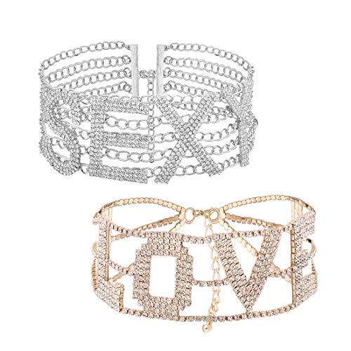 Junkai Estilo europeo gargantilla de diamantes de imitación collar de cristal de moda letras personalizadas SEXY LOVE joyería de moda mujeres accesorio