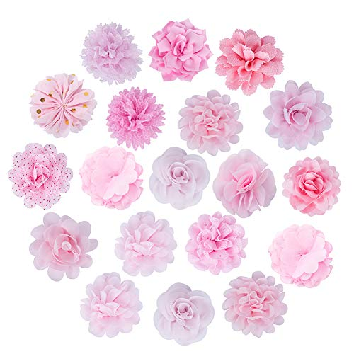 NBEADS Flores de Gasa, 15 Piezas de Tela de Flores Rosadas Parches de Apliques Hechos A Mano para Coser Diadema Decoración del Cabello Accesorios para Disfraces