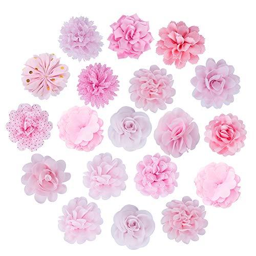nbeads 15 STÜCKE Chiffon Blumen, Stoff Blumen für Stirnbänder, Hochzeiten und andere Bastelarbeiten, rosa