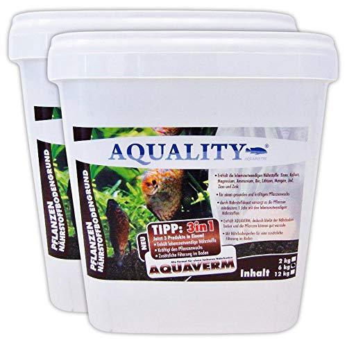 AQUALITY Aquarium Pflanzen Nährstoffbodengrund 3in1 (GRATIS Lieferung in DE - Für alle Aquarien-Pflanzen geeignet. Das Nährstoffdepot versorgt die Pflanzen mindestens 1 Jahr), Inhalt:12 kg