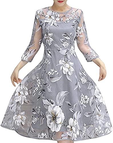 Vestido de fiesta de organza de verano con estampado floral para mujer, vestido de cóctel