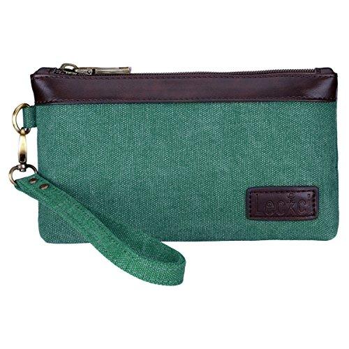 Lecxci Women's Canvas Smartphone Wristlets Bag, Clutch Wallets Purses for iPhone 6S/7 Plus/8 Plus/XS (Teal)