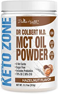 Dr. Colbert's Keto Zone MCT Oil Powder | Hazelnut Flavor | 70 % C8 | 30% C10 | 0 Net Carbs | Gluten Free | 30 Day Supply |...