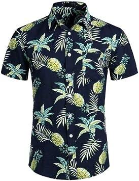 LFNANYI Camisa Hawaiana Azul Marino de piña Verano para ...