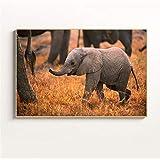 AQgyuh Puzzle 1000 Piezas El pequeño Elefante Que no Puede Seguir el Ritmo del Equipo Puzzle 1000 Piezas Animales Educativo Divertido Juego Familiar para niños adultos50x75cm(20x30inch)