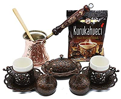 HeraCraft Premium Turkish Greek Arabic Coffee & Espresso Making Serving Gift Set with Copper Pot Coffee Maker, Cups Saucers, Sugar Bowl,Spoon & 3.5 Oz Coffee.13 Pieces (Copper)