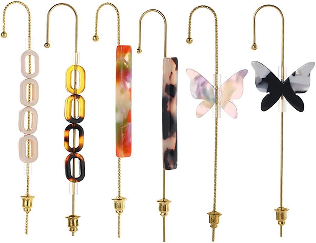 Dorakitten Ear Wrap Earrings Fashion 6PCS Trendy Vintage Decorative Butterfly Ear Cuff Crawlers for Women Acetate Sheet