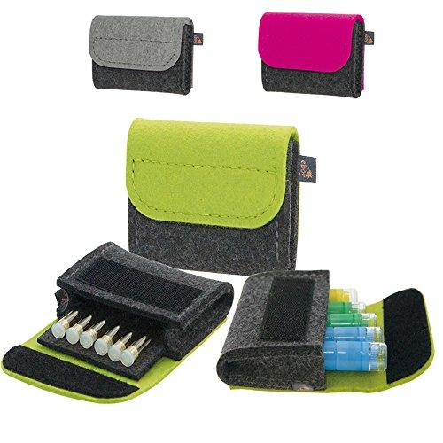 Premium Taschenapotheke von ebos | handgefertigte Reiseapotheke aus echtem Wollfilz | 6 Schlaufen für Globuli-Röhrchen | Globuli-Tasche zur Aufbewahrung von homöopathischer Hausapotheke | grün