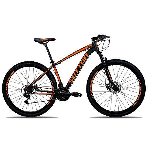 Bicicleta Sutton New Aro 29 Freio a Disco Hidráulico 21 Marchas Câmbios Shimano (PRETA-LARANJA, 19)
