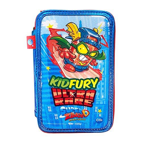 Cife SUPERZINGS Estuche Triple ZUPERZINGS Kid Fury Colores, 16 rotuladores, Bolis, Regla, Calendario, lápiz, Goma, Multicolor con Glitter (42044)