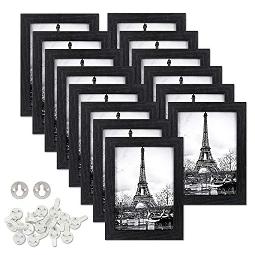 upsimples 5x7 Picture Frame Set of 14, Made of Composite Wood and High Definition Glass for Wall or Tabletop Display,Black Picture Frames Collage
