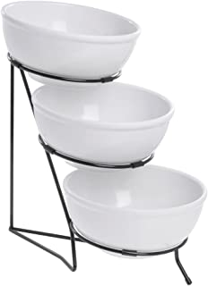 Buffet Stand 3 Tier Stand with Bowls Black Wire Includes 3 Bowls - 10 3/4 L x 18