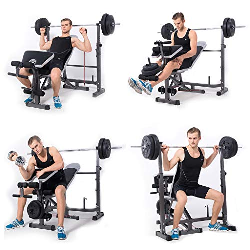 Vdaye Strength Training Adjustable Benches Set,Home Office Exercise Fitness Dumbbells Bench,Abdominal Training Workout Bench,Multi-Workout Whole Body Exercise Pushup Stands (Black) (Bench Rack Set)