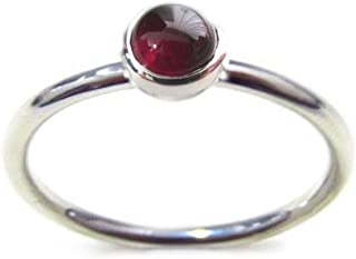 Stacking Ring Round 4mm Cabochon Semi-precious Stone in Sterling Silver: Amethyst, Citrine, Garnet, Peridot, Moonstone, Opal, Pink Opal, Lapis Lazuli, Turquoise, Black Agate, Mother of Pearl, Malachite (Size 2,3,4,5,6,7,8,9,10,11,12)