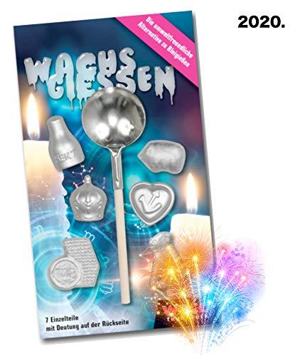 TK Gruppe Timo Klingler Wachsgießen Silvester Wachsgiessen 2020 - Alternative zu Bleigießen Bleigiessen für Silvester Neujahr Party Spiele mit Orakelheft (3X)
