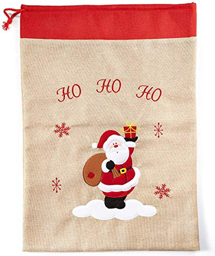 HEITMANN DECO Nikolaussack - Weihnachts-Jutesack, Stoff-Geschenksack, Geschenkbeutel Natur und rot - Weihnachtsmann