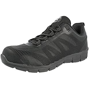 Groundwork Ladies GR44 Steel Toe Cap Safety Work Factory Warehouse Shoes Trainers Boots Size 3-8 (UK 7, Black/Black)